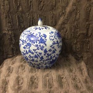 Vintage White Blue Floral Ginger Jar
